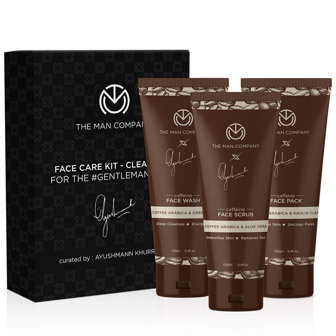 The Man Company Caffeine Cleansing Face Care Kit (Face Wash 100ml + Face Scrub 100ml + Face Pack 100ml