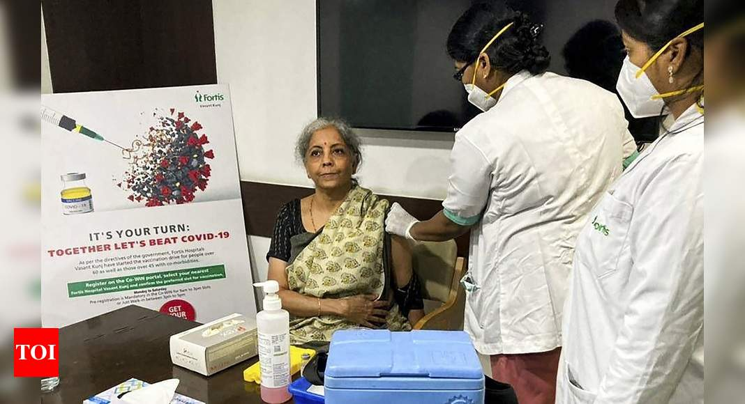 Nirmala Sitharaman takes the first dose of the Covid-19 vaccine