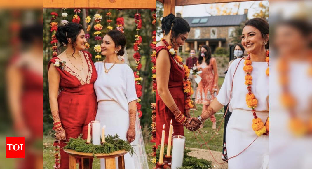 We can't stop crushing over this stylish same-sex desi wedding